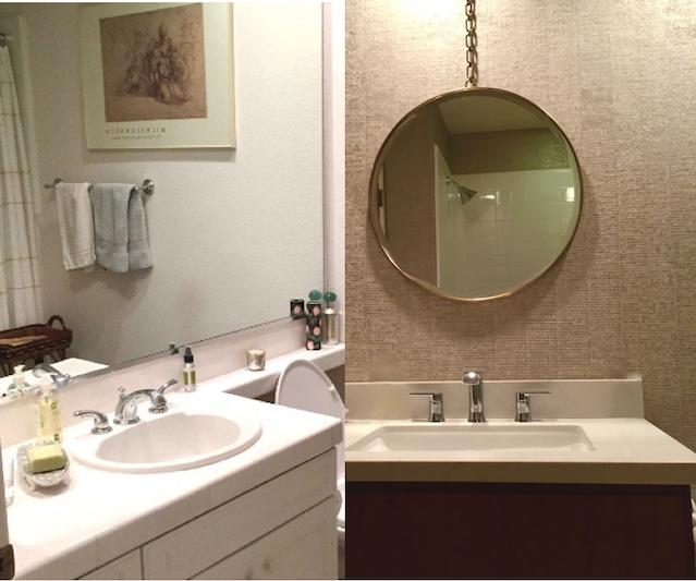 wall paper, round mirror